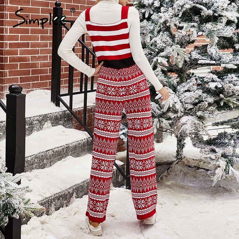 Sleeveless High Waist Geometry Knitted Jumpsuit Christmas 2020