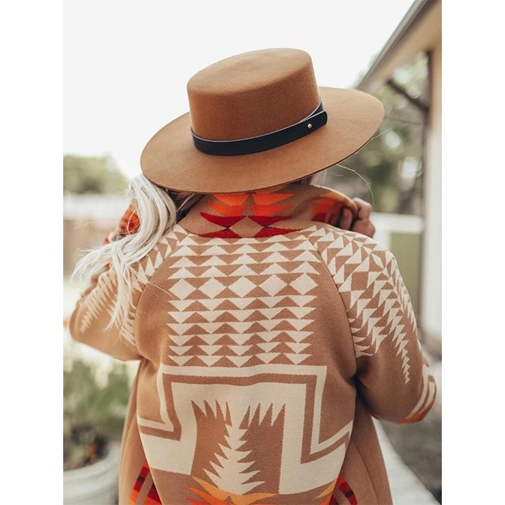 Hippie Gypsy Women Boho Khaki Ethnic Print Long Warm Coat Winter