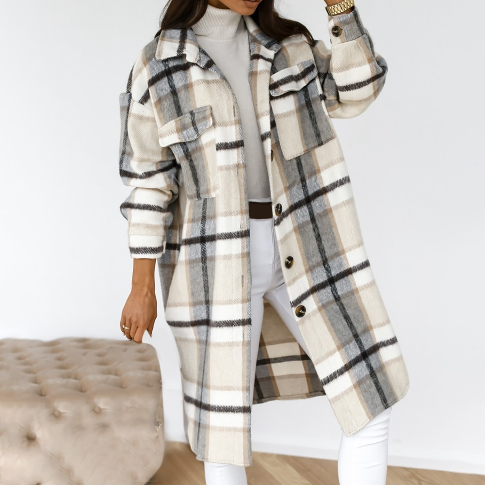 2021 Winter Plaid Long Thick Woolen Blends Retro Jacket Down Overcoat