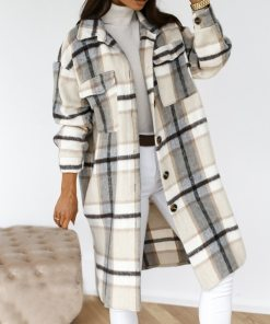 2021 Winter Plaid Long Thick Woolen Blends Retro Jacket Down Overcoat