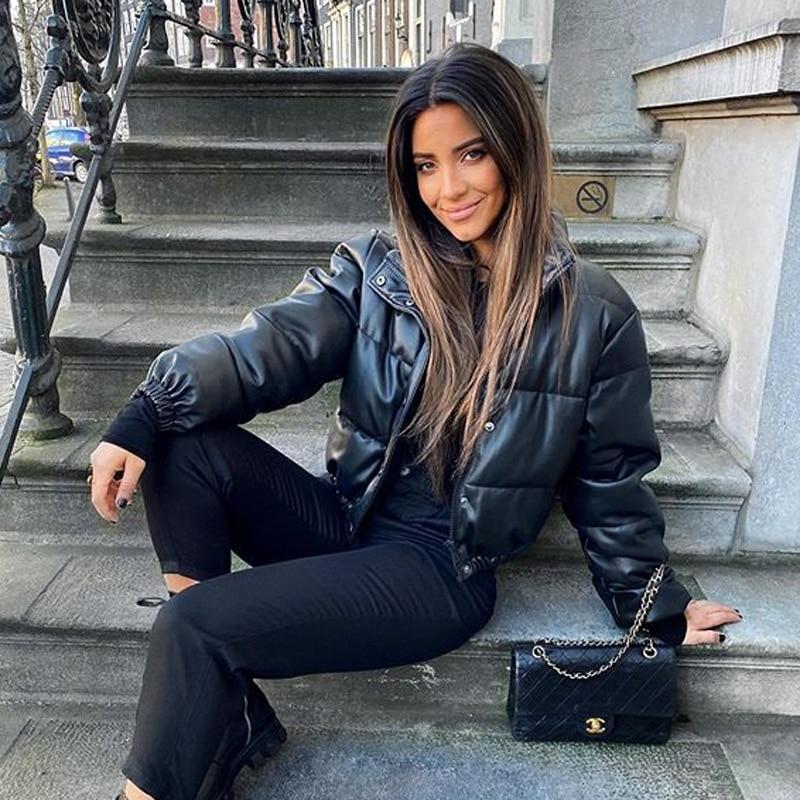 Thick Warm Short Leather Parkas Elegant Cotton Jacket