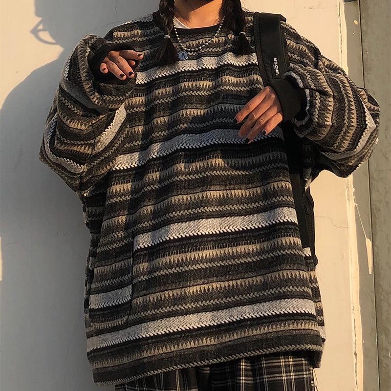 Oversize Ulzzang Unisex Couples Japanese Striped Knit Sweater Winter