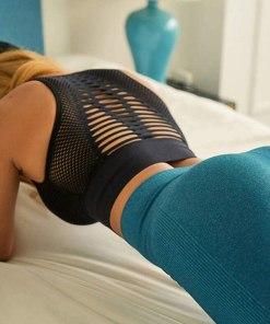 Women's Longline Sport Bra Seamless Yoga Crop Top Medium-Low Support Workout Bra