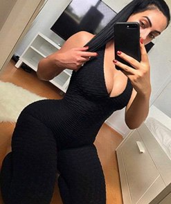 Women Texture Bodysuit Sleevesless Sport One-Piece Backless Sexy Slimming Bodycon Rompers Jumpsuit
