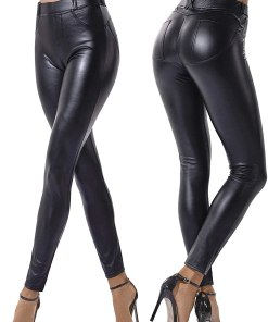 Women's Faux Leather Leggings Pants PU Elastic Shaping Hip Push Up Black Sexy Stretchy High Waisted Tights