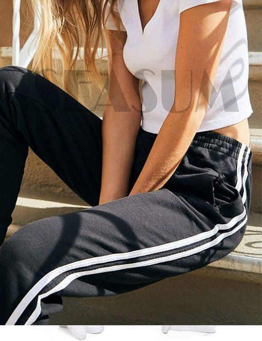 Women's Cuffed Jogger Pants Drawstring Side Stripe Active Workout Yoga Sweatpants Legging with Pockets