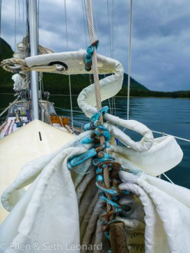 Staysail furled after the gale