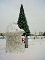 Statue - Ded Moroz aka Russia Santa Covered in Coins People Have Stuck To Him
