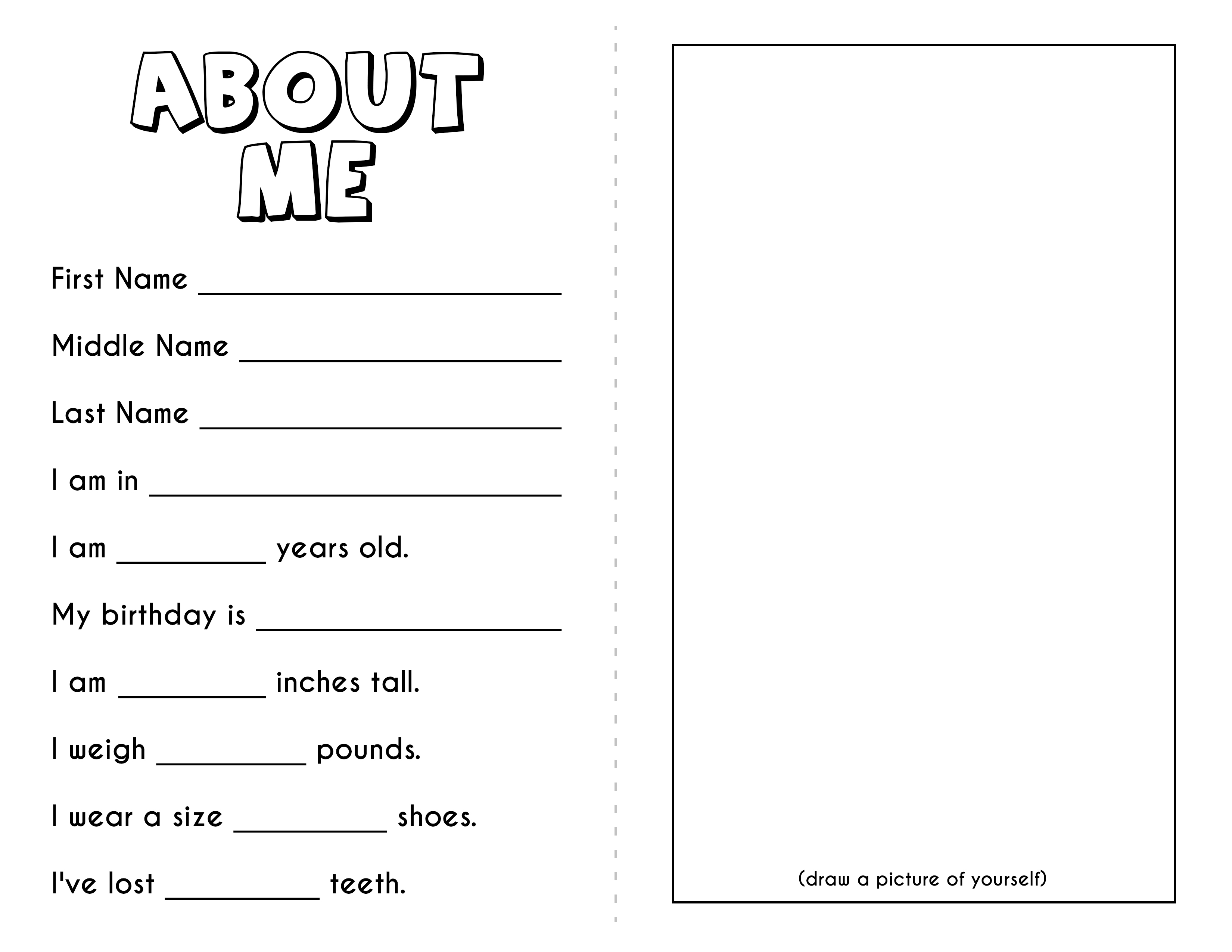 Teacher T Tags Free All About Me Printable Book
