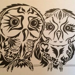 結婚のお祝いにお母様からのプレゼント アートな絵のオーダーメイド「フクロウの夫婦」