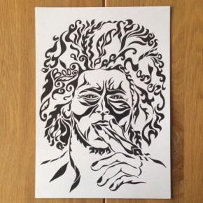 お店のインテリアに! タバコ屋さんからのご依頼。ちょっと怖いアートな「似顔絵」オーダーメイド
