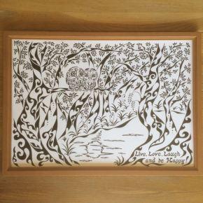 新郎から新婦への贈り物!結婚式と誕生日のお祝いに「フクロウの夫婦」のアートな絵のサプライズプレゼント