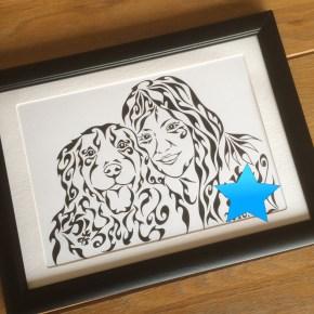 愛犬家の方へのプレゼントに!ゴールデン・レトリバーと仲良く似顔絵風アートの贈り物