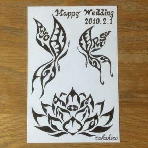 2匹の蝶々と蓮の花をモチーフに!結婚記念日とご夫婦の名前を入れた絵のオーダーメイド
