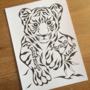 虎が大好きな知人へのプレゼントに!ご要望あったトラの画像をモチーフにした模様で描く絵の贈り物