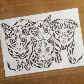 犬や猫、たくさんのペットがいても大丈夫!複数のペットも模様で描く似顔絵風アートに