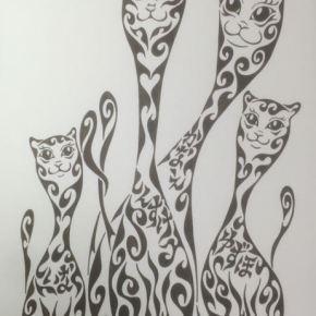 息子さん夫婦の出産祝いのプレゼントに!名前の入った、ちょっと変わった猫の家族の絵のプレゼント