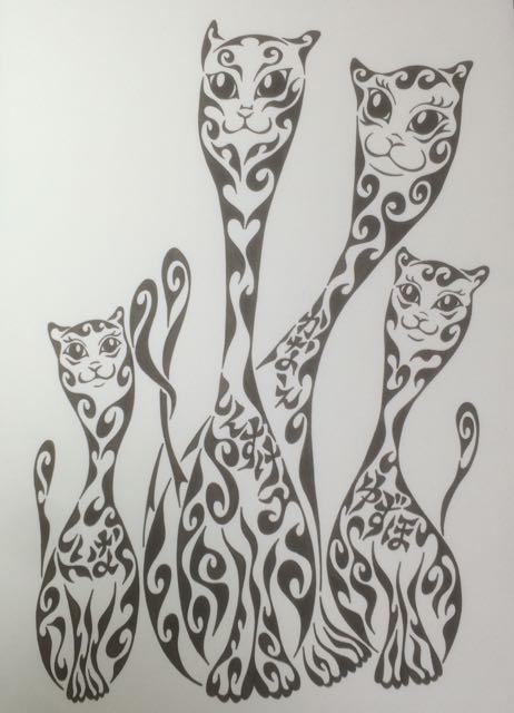 猫の家族 家族の絵 出産祝い