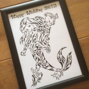 アリエル好きの方へのご結婚のお祝いに!新郎新婦の名前が入った模様で書く絵のプレゼント