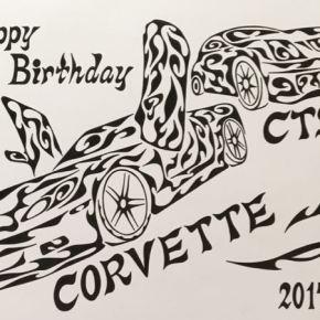 誕生日のプレゼントに!愛車をモチーフにした模様で書く絵のオーダーメイド(A4)