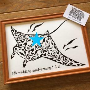 スキューバダイビングが趣味のご夫婦!結婚5周年の記念にマンタをモチーフにした絵のオーダーメイド