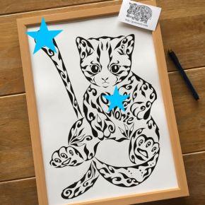 退職のお祝いに贈る!大好きな猫をモチーフにした名前入の絵のプレゼント