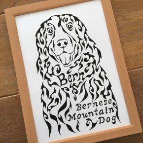 模様で描くペットのバーニーズマウンテンドッグの似顔絵風アート