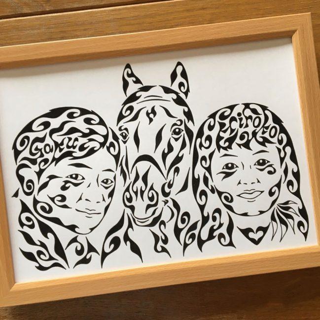 似顔絵,カップル,競馬,馬