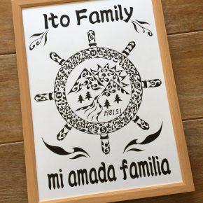 船乗りの父!舵をモチーフに大家族の名前を入れた家族のシンボル的な絵のご依頼