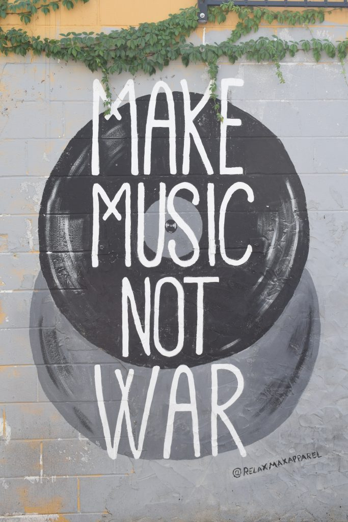 Make music not war mural wall art graffiti Nashville