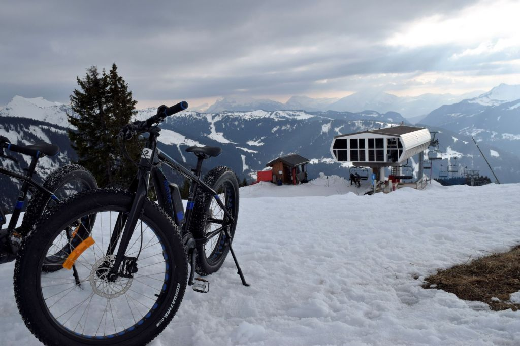 Matra eFatbikes parked up with a mountain view