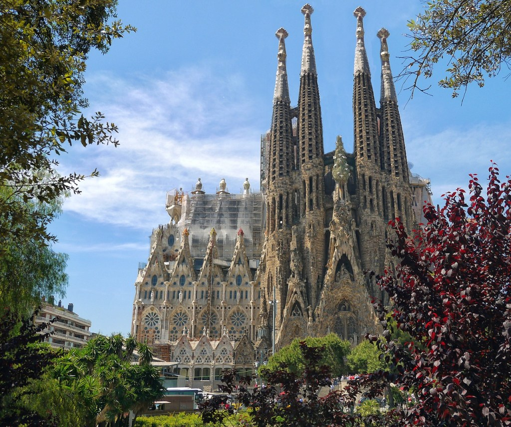 The almost completed Sagrada Familia Cathedral in Barcelona