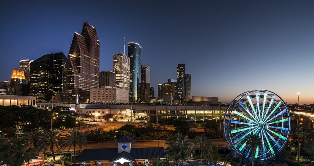 skyline and ferris wheel lit up, palm trees on foreground just after sunset
