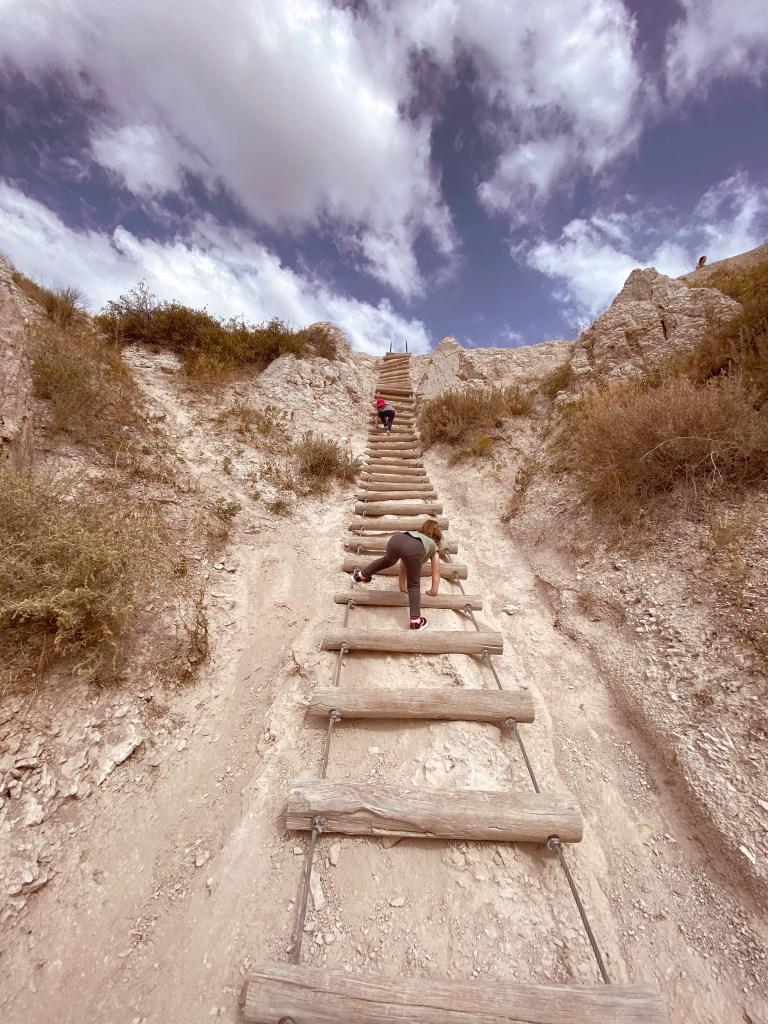 long wooden ladder up rock in badlands national park south dakota with kids