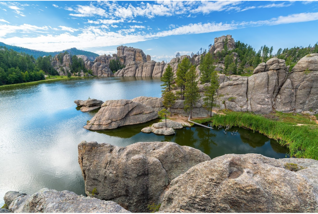 lake with dramatic rock formations