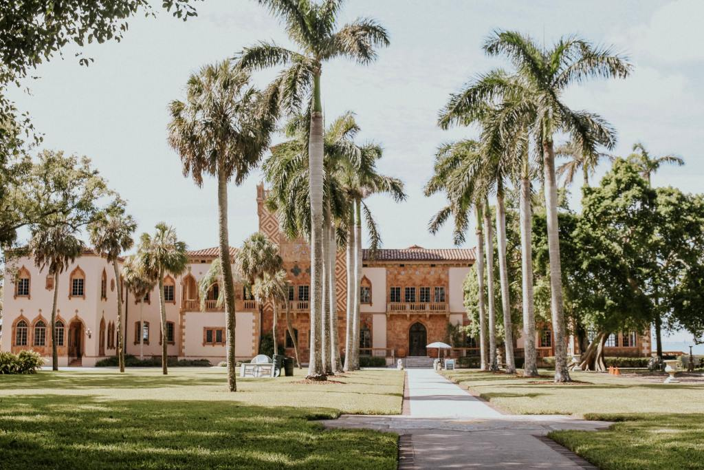 pink ringling museum building, one of the best things to do in florida with kids