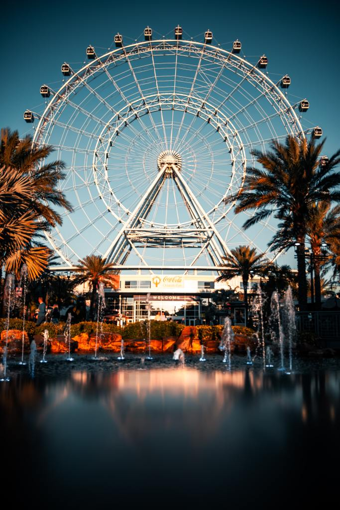 the orlando eye ferris wheel in icon park, one of the best things to do in orlando with kids