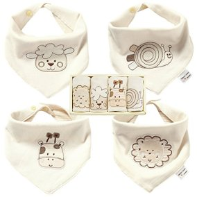 Non-Toxic Holiday Gift - Trendy Baby Natural Colored Organic Cotton Baby Bibs