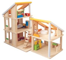 Non Toxic Toys For Toddlers - Plan Toy Chalet Doll House with Furniture