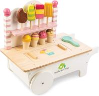 Non Toxic For Preschoolers - 15 Pc Ice Cream Cart - Includes Ice Cream Cones, Popsicles, Scooper and Cart