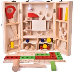Non Toxic Gifts For Preschoolers - FUN LITTLE TOYS 43 PCs Kids Tool Box Wooden Toys Set