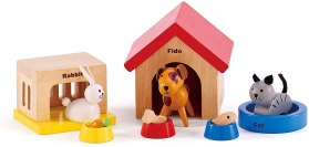 Non Toxic Gifts For Preschoolers - Family Pets Wooden Dollhouse Animal Set by Hape