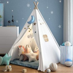 Non Toxic Gifts For Preschoolers - wilwolfer Teepee Tent for Kids Foldable Children Play Tents for Girl and Boy with Carry Case Canvas Playhouse Toys for Girls or Child Indoor and Outdoor