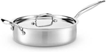 Stainless Steel Cookware - Heritage Steel 316 Stainless Steel Sauté Pan with Lid