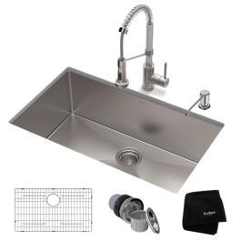 Stainless Steel Kitchen Sink - Kraus Standart PRO All-in-One Undermount Stainless Steel 30 in. Single Bowl Kitchen Sink