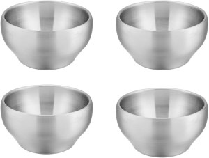 Stainless Steel Dinnerware For Kids - E-far 12 Ounce Double-deck SUS304 Stainless Steel Bowls for Baby Children