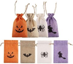 Non Toxic Halloween Bag For Kids - DECORA Burlap Gift Bags with Double Jute Drawstrings Candy Pouch Halloween Treat Bags