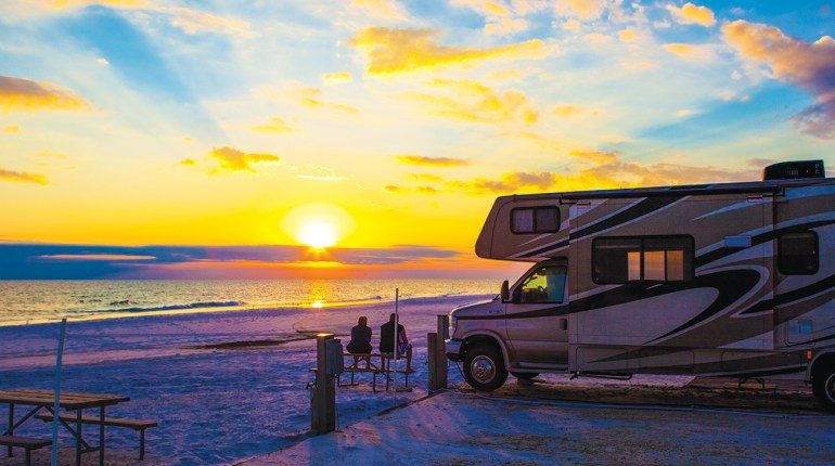 RV camping on the ocean