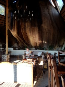Big Cave Camp lounge is built into the stone.