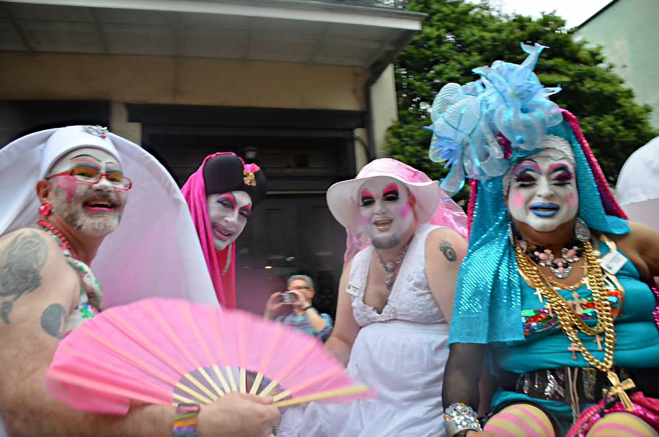 Sisters of Perpetual Indulgence in a carriage at the Gay Easter Parade. (Photo courtesy of Ambush Magazine)